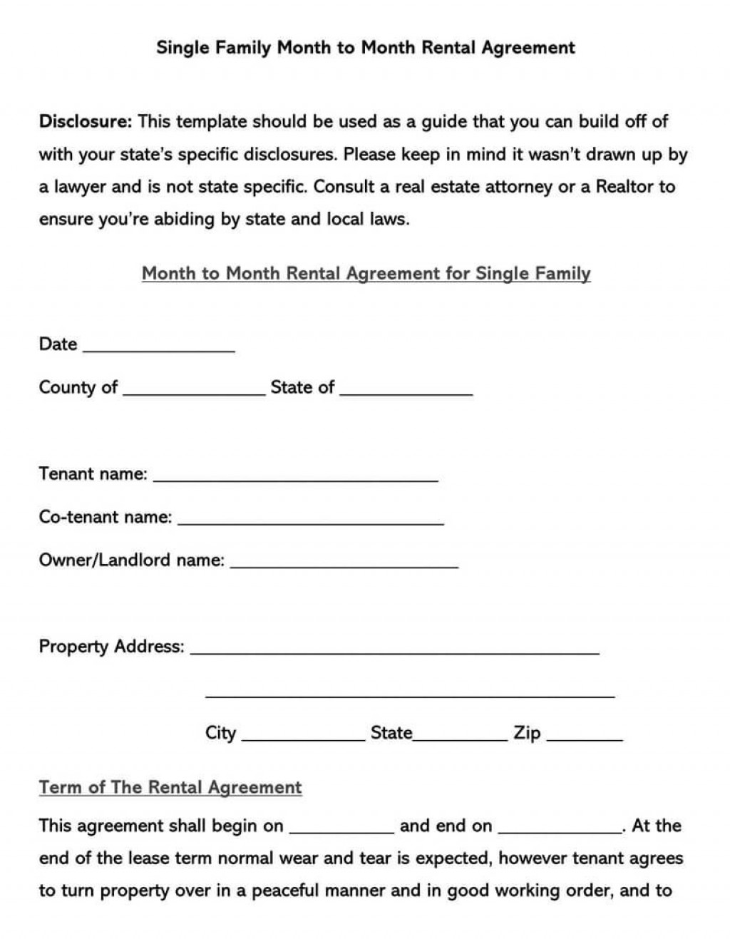 008 Top Free Lease Agreement Form Pdf Idea  Residential To Print RentalLarge