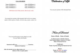 008 Top Free Printable Celebration Of Life Program Template High Def