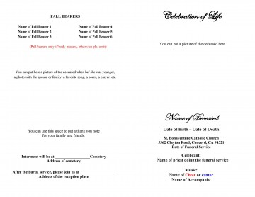 008 Top Free Printable Celebration Of Life Program Template High Def 360