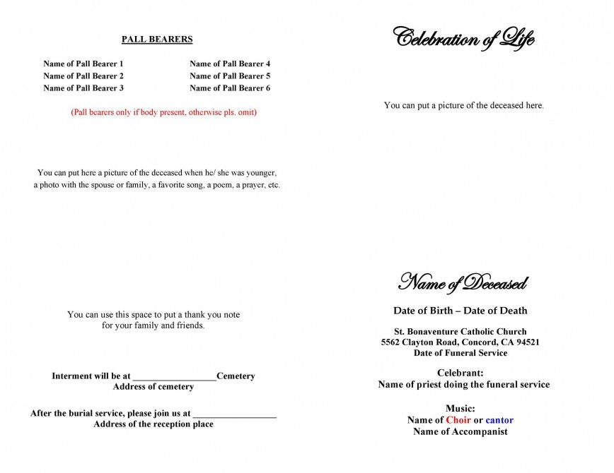 008 Top Free Printable Celebration Of Life Program Template High Def 868