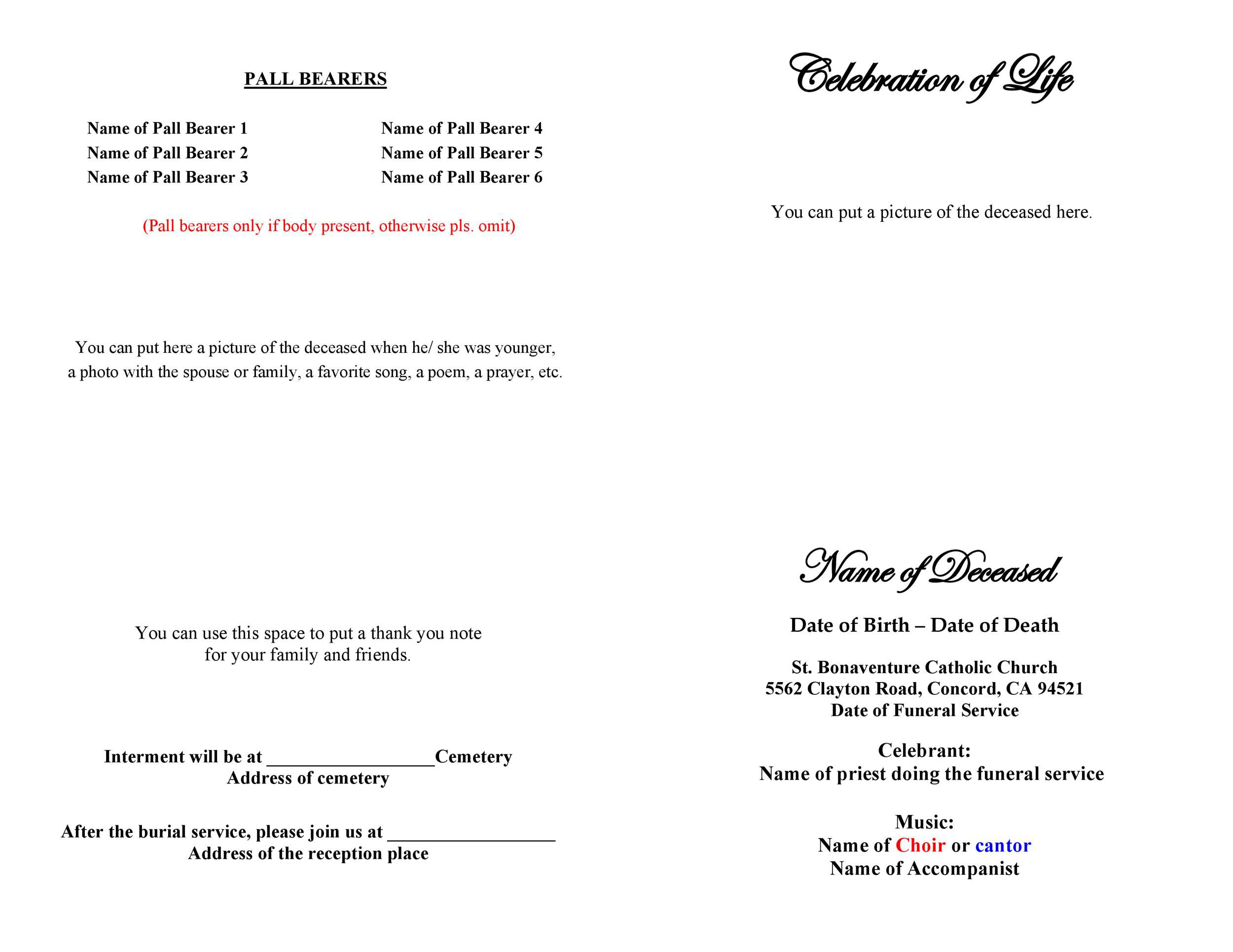 008 Top Free Printable Celebration Of Life Program Template High Def Full