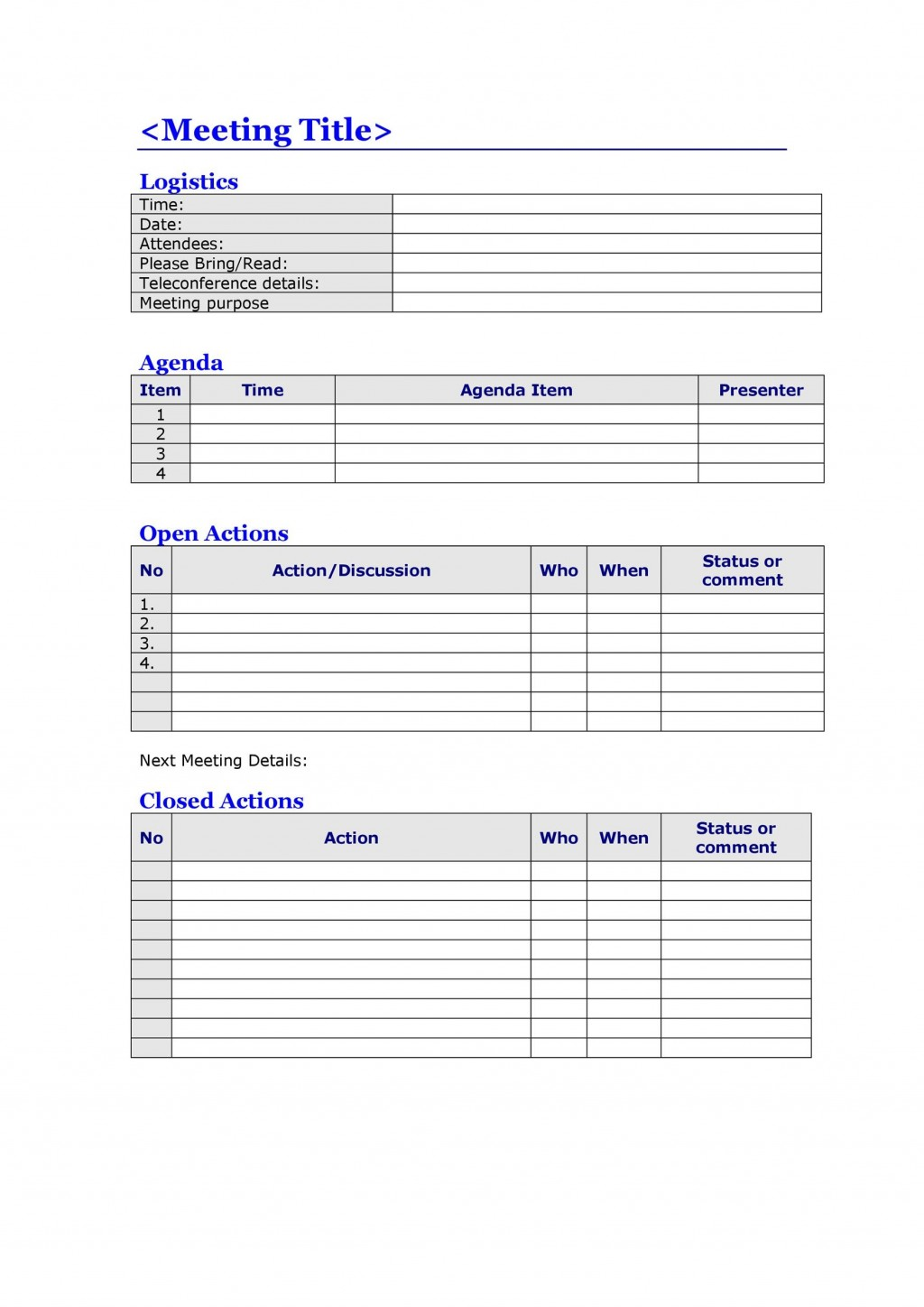 008 Top Meeting Agenda Template Word Image  Free Download DocLarge
