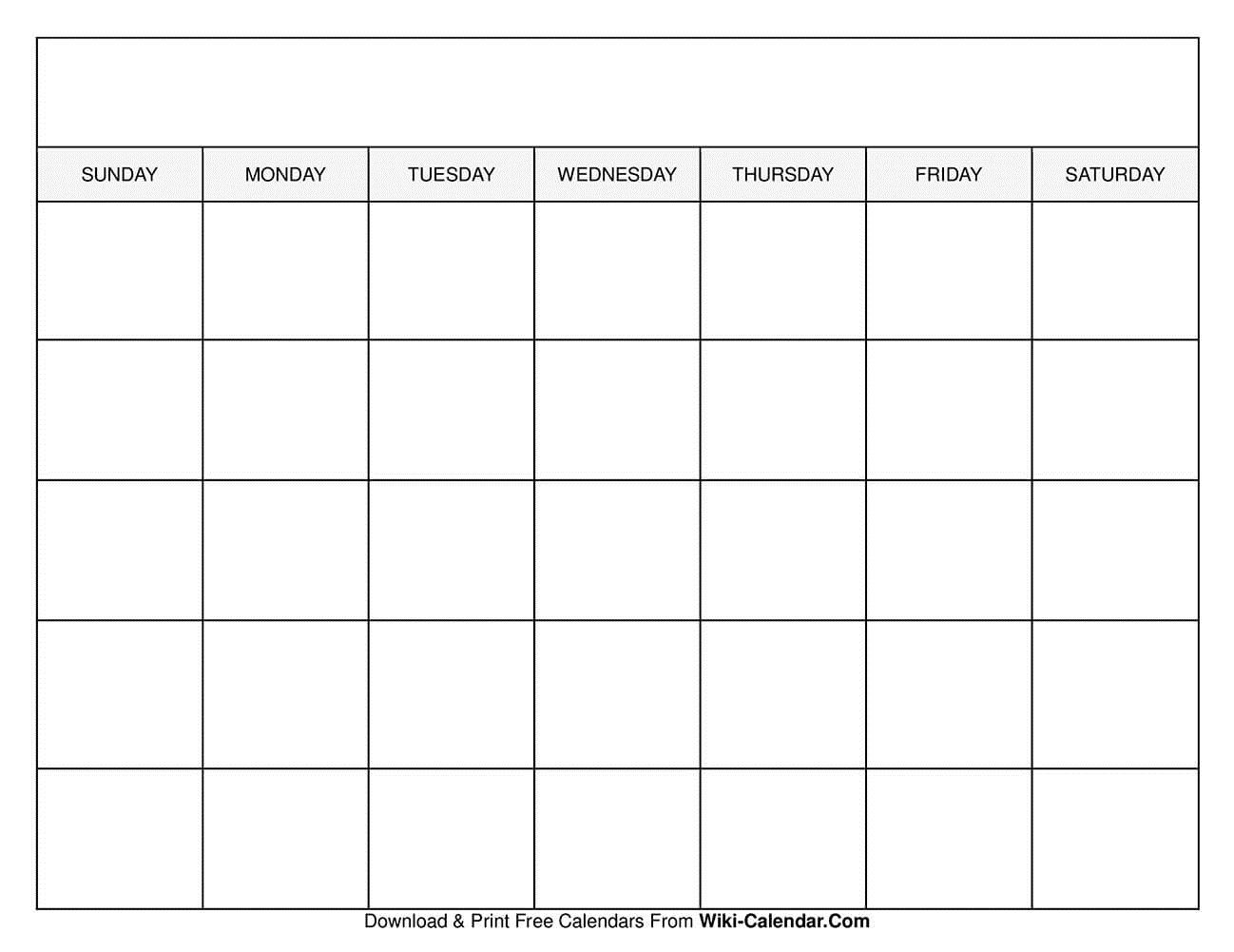 008 Top Printable Blank Monthly Calendar Template High Resolution  PdfFull