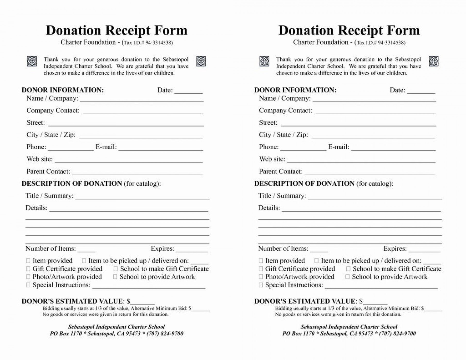 008 Top Printable Donation Form Template Example  Blank Receipt1920