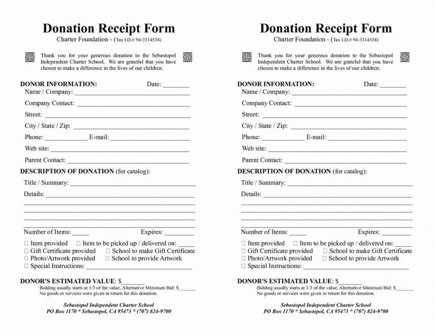 008 Top Printable Donation Form Template Example  Blank Receipt