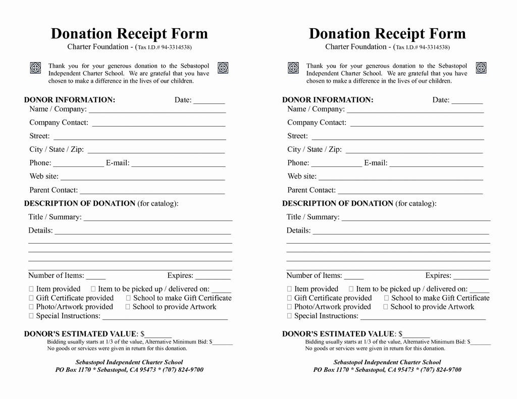 008 Top Printable Donation Form Template Example  Blank ReceiptFull