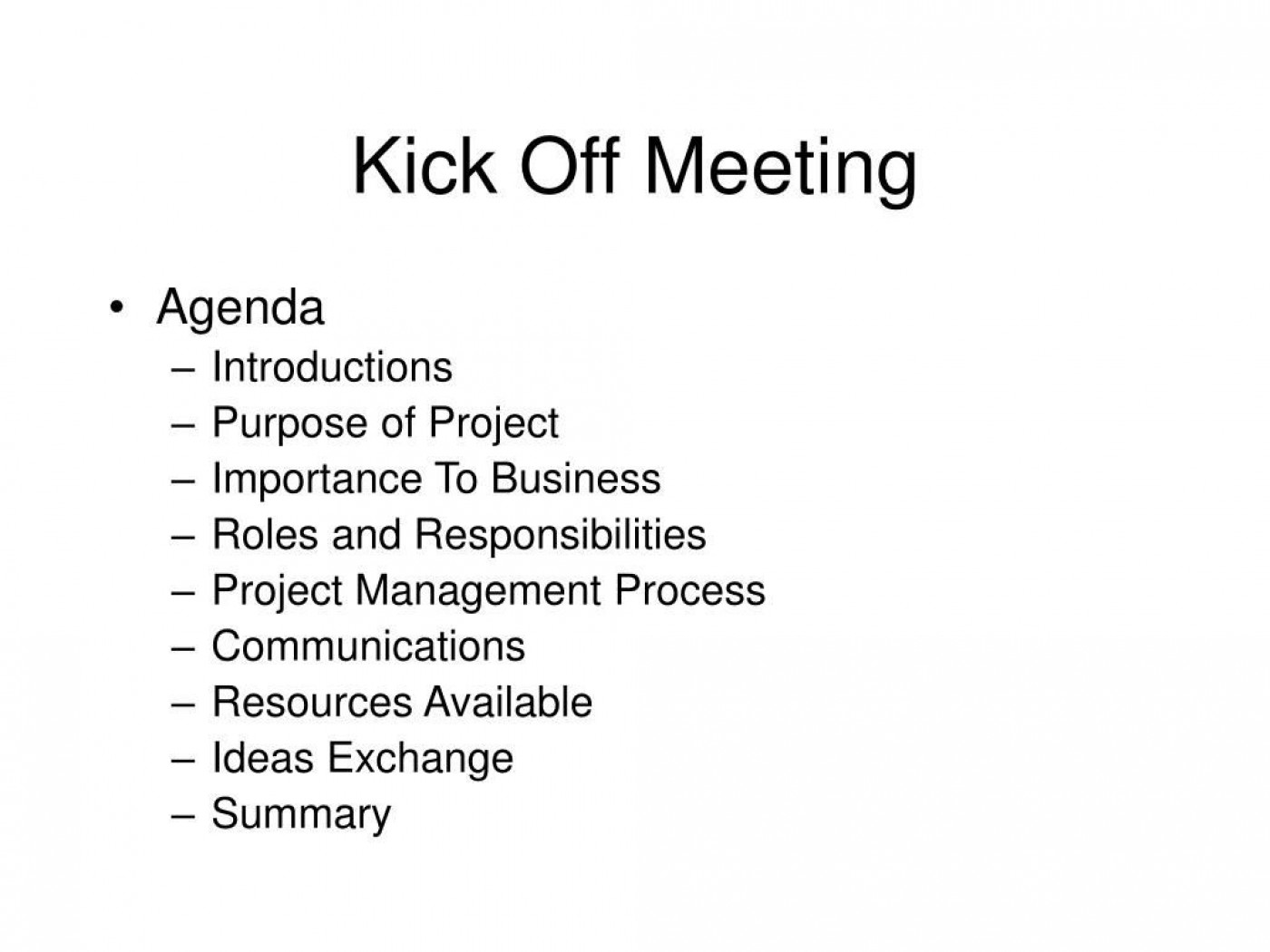 008 Top Project Management Kickoff Meeting Agenda Template Sample 1400