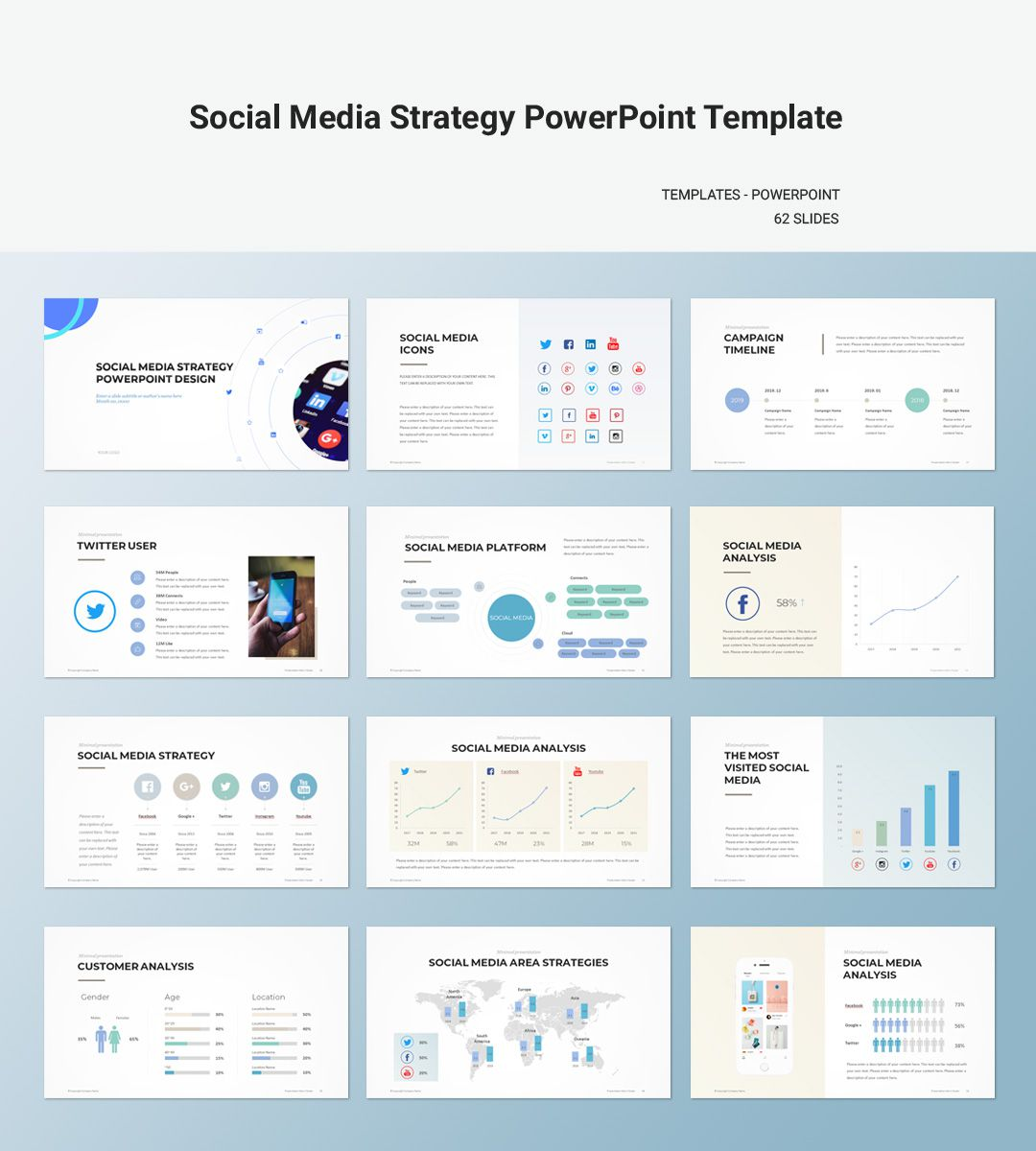 008 Top Social Media Strategy Powerpoint Template High Resolution  Marketing Plan FreeFull