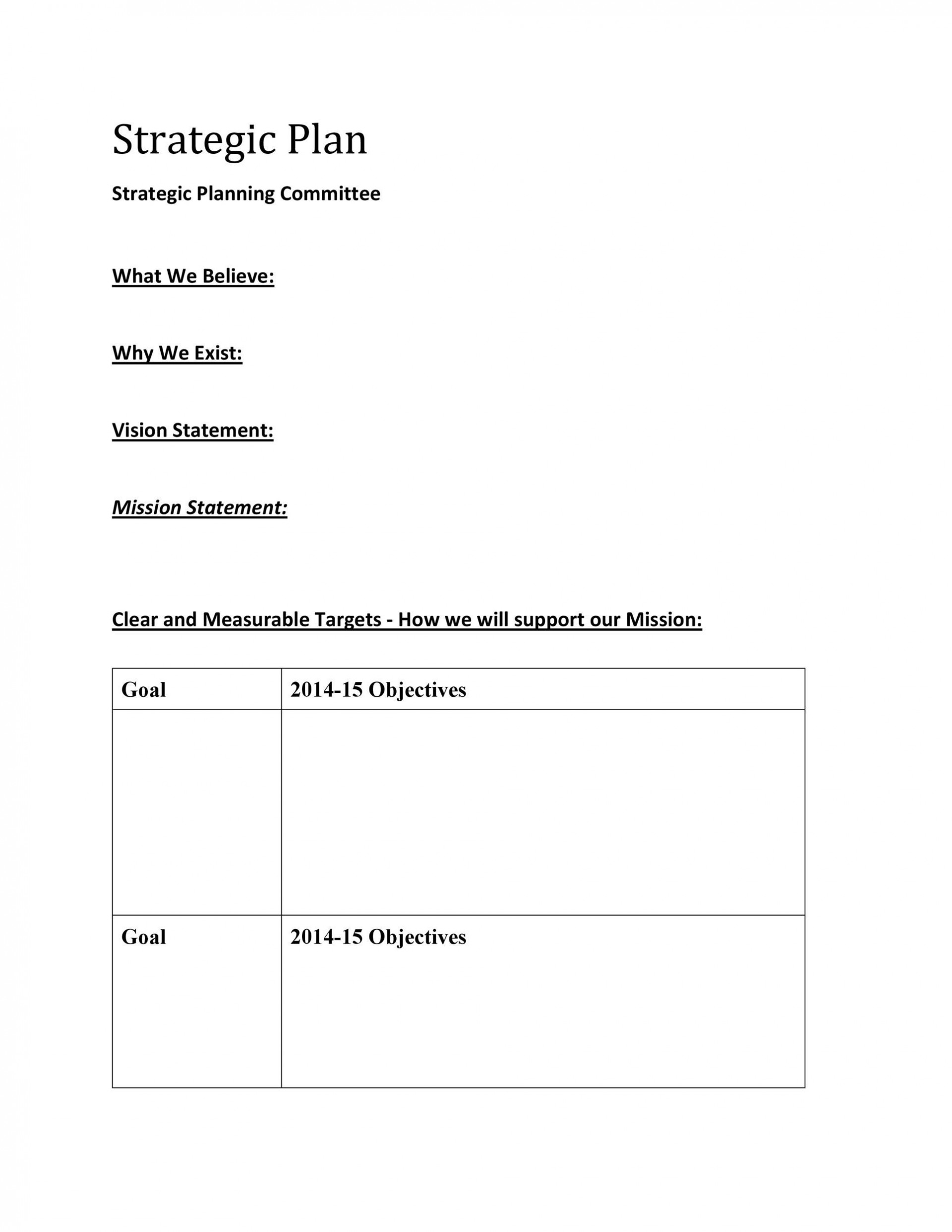 008 Top Strategic Plan Template Word Image  Format Busines Doc1920