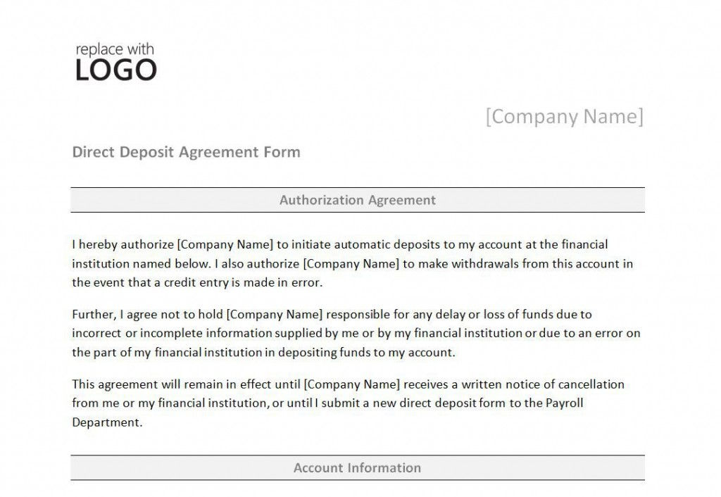 008 Unbelievable Direct Deposit Agreement Authorization Form Template Photo Large