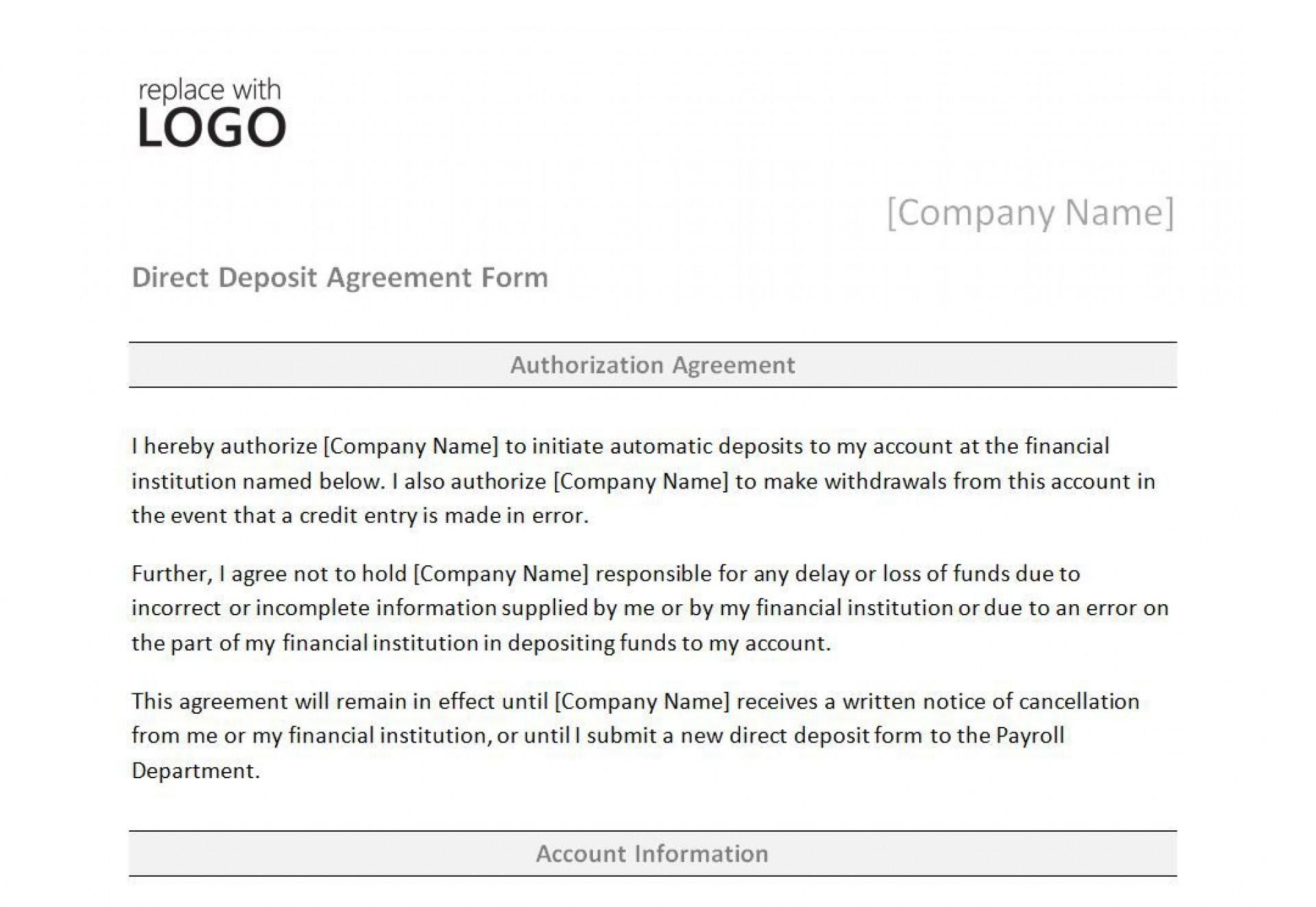 008 Unbelievable Direct Deposit Agreement Authorization Form Template Photo 1920