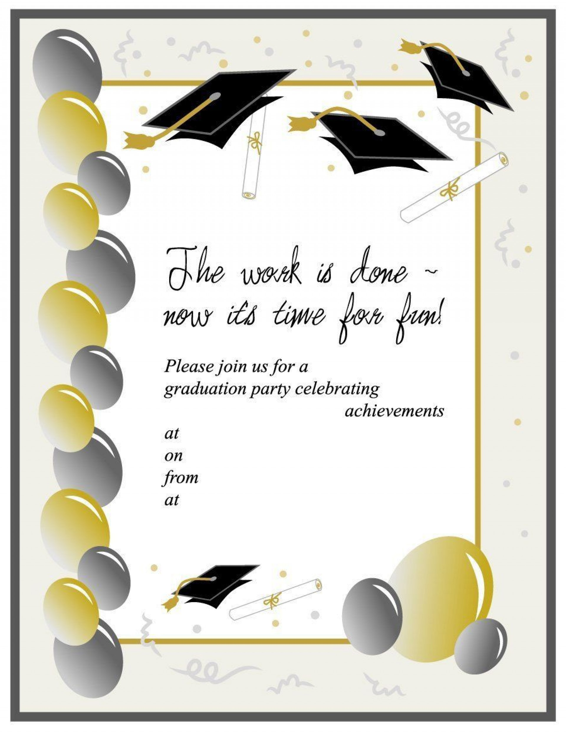008 Unbelievable Free Graduation Invitation Template Printable Image  Party For Word Preschool1920