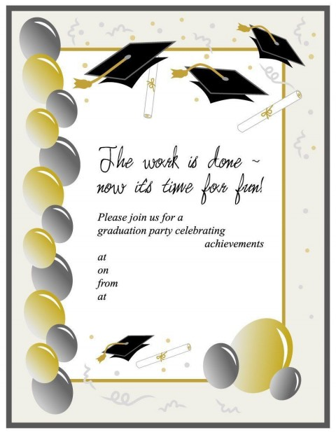 008 Unbelievable Free Graduation Invitation Template Printable Image  Party For Word Preschool480