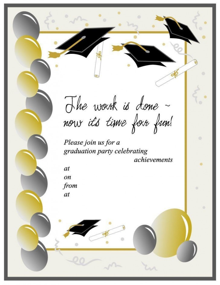 008 Unbelievable Free Graduation Invitation Template Printable Image  Party For Word Preschool728