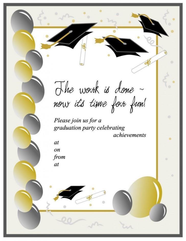 008 Unbelievable Free Graduation Invitation Template Printable Image  Kindergarten Party Card728