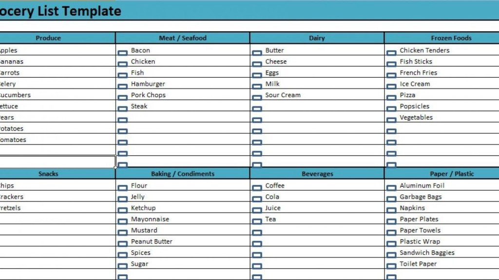 008 Unbelievable Grocery List Template Excel Free Download High Definition Large
