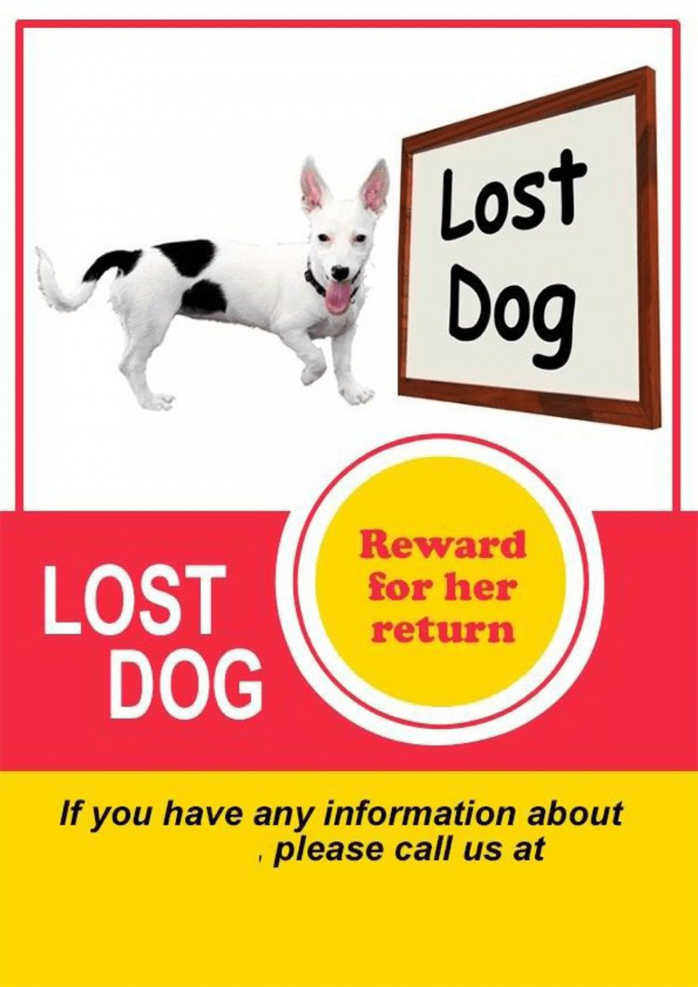 008 Unbelievable Lost Dog Flyer Template Highest Quality  Printable Missing Pet1400