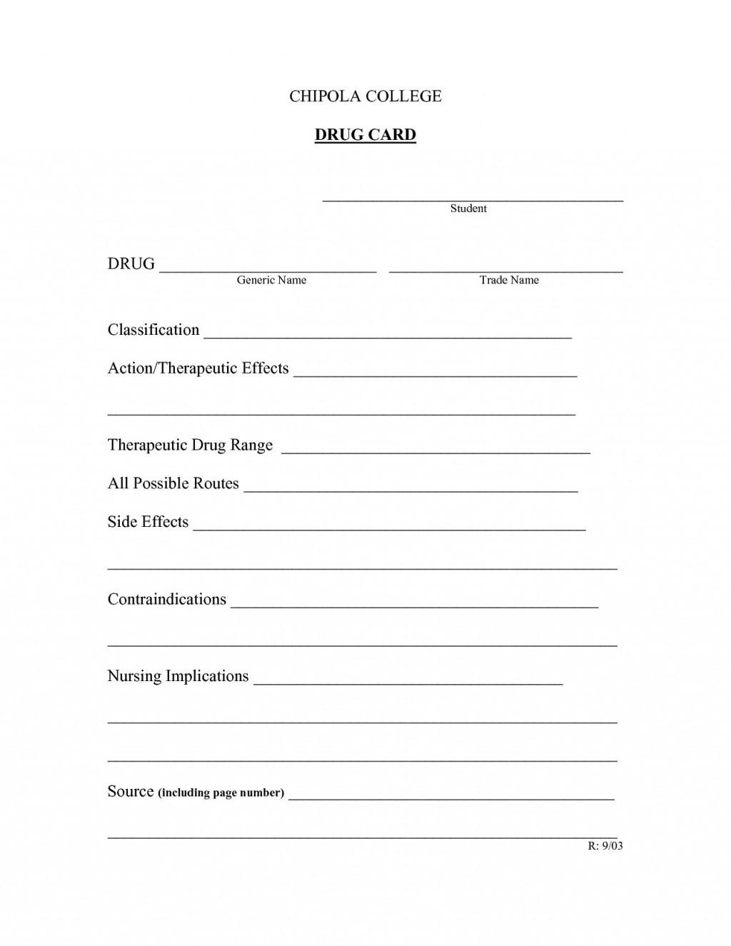 008 Unbelievable Nursing Drug Card Template Idea  School Download PrintableLarge