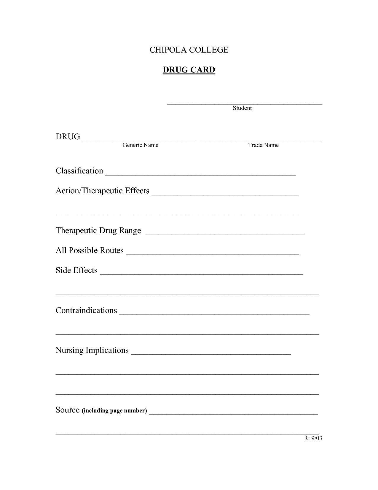 008 Unbelievable Nursing Drug Card Template Idea  School Download PrintableFull