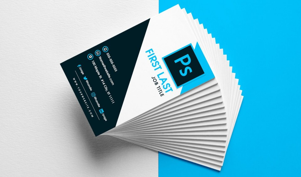 008 Unbelievable Psd Busines Card Template Highest Quality  Computer Free With Bleed960