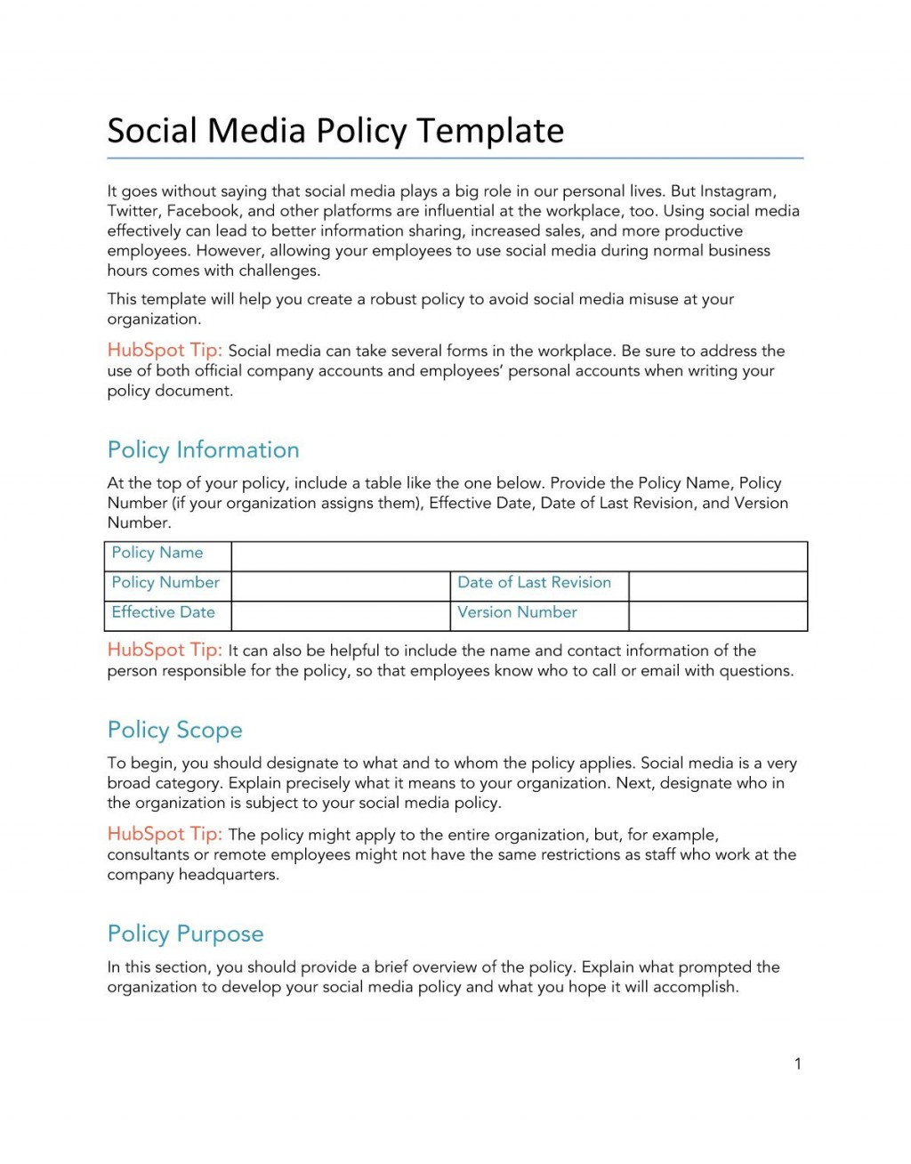 008 Unbelievable Social Media Policy Template Idea  Templates FreeLarge