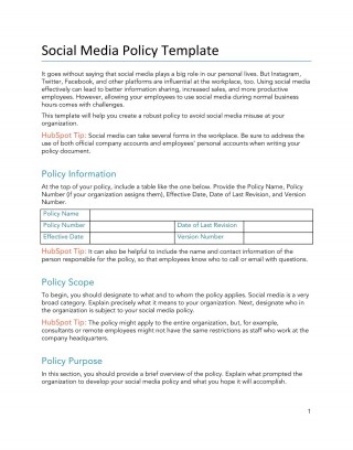 008 Unbelievable Social Media Policy Template Idea  Free320