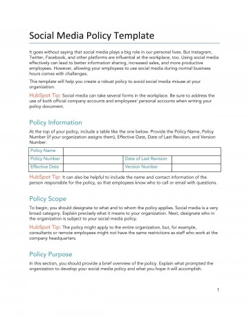 008 Unbelievable Social Media Policy Template Idea  Free360