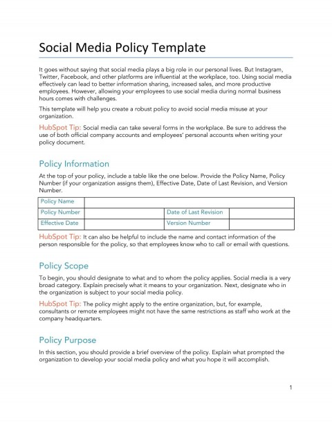 008 Unbelievable Social Media Policy Template Idea  Free480
