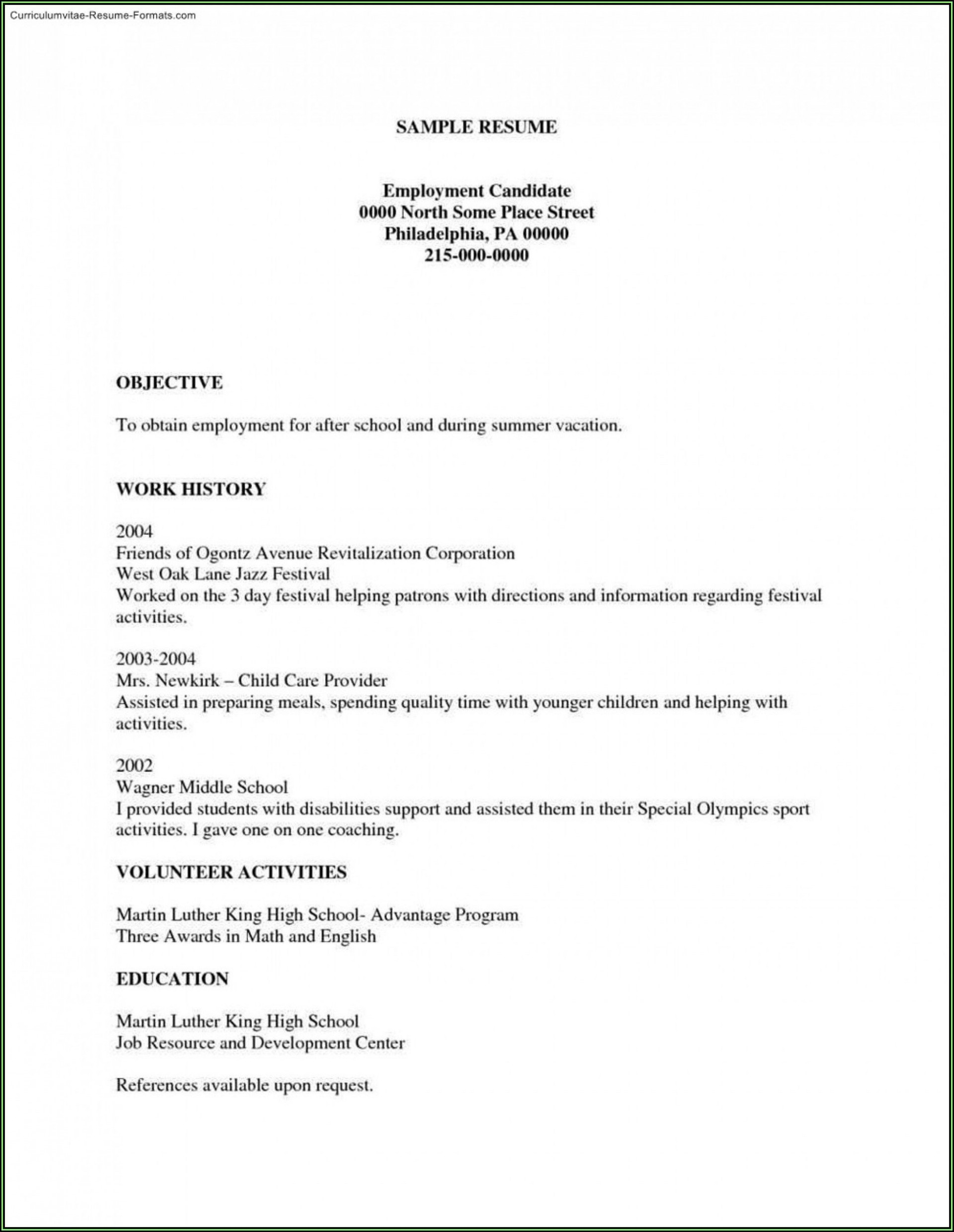 Blank Basic Resume Templates Addictionary
