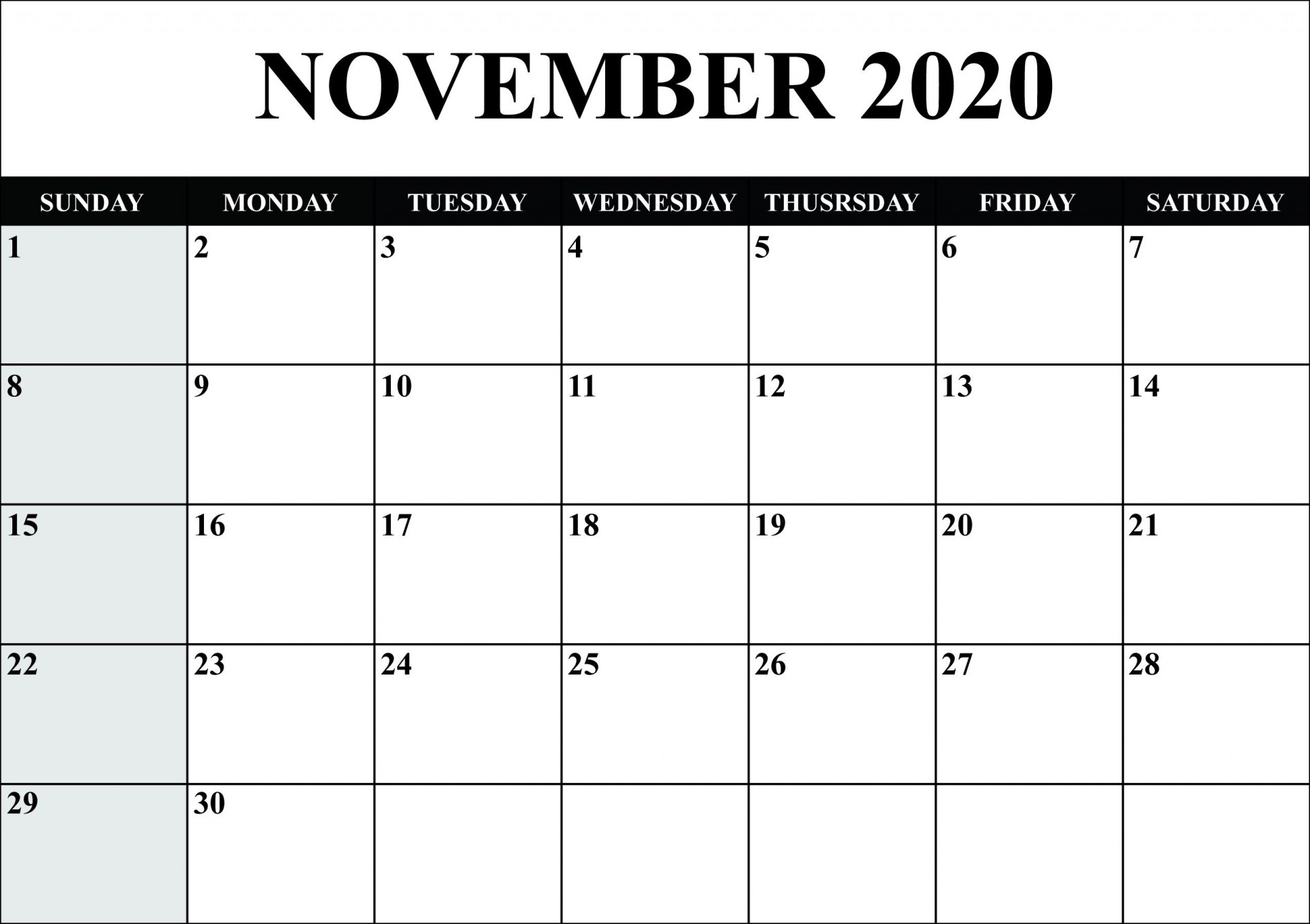 008 Unforgettable Calendar 2020 Template Word Sample  Monthly Doc Free Download1920