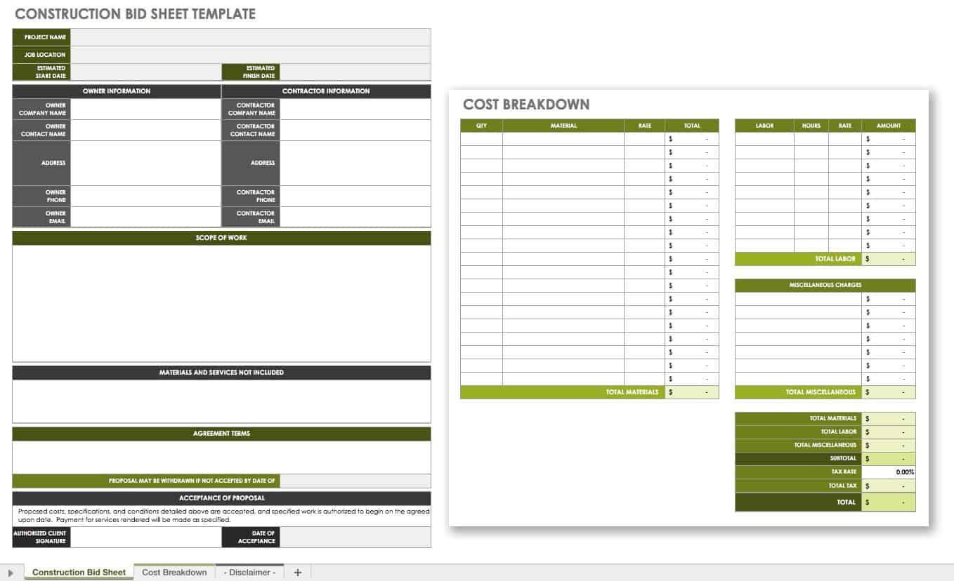 008 Unforgettable Contractor Bid Sheet Template Highest Clarity  General ElectricalFull