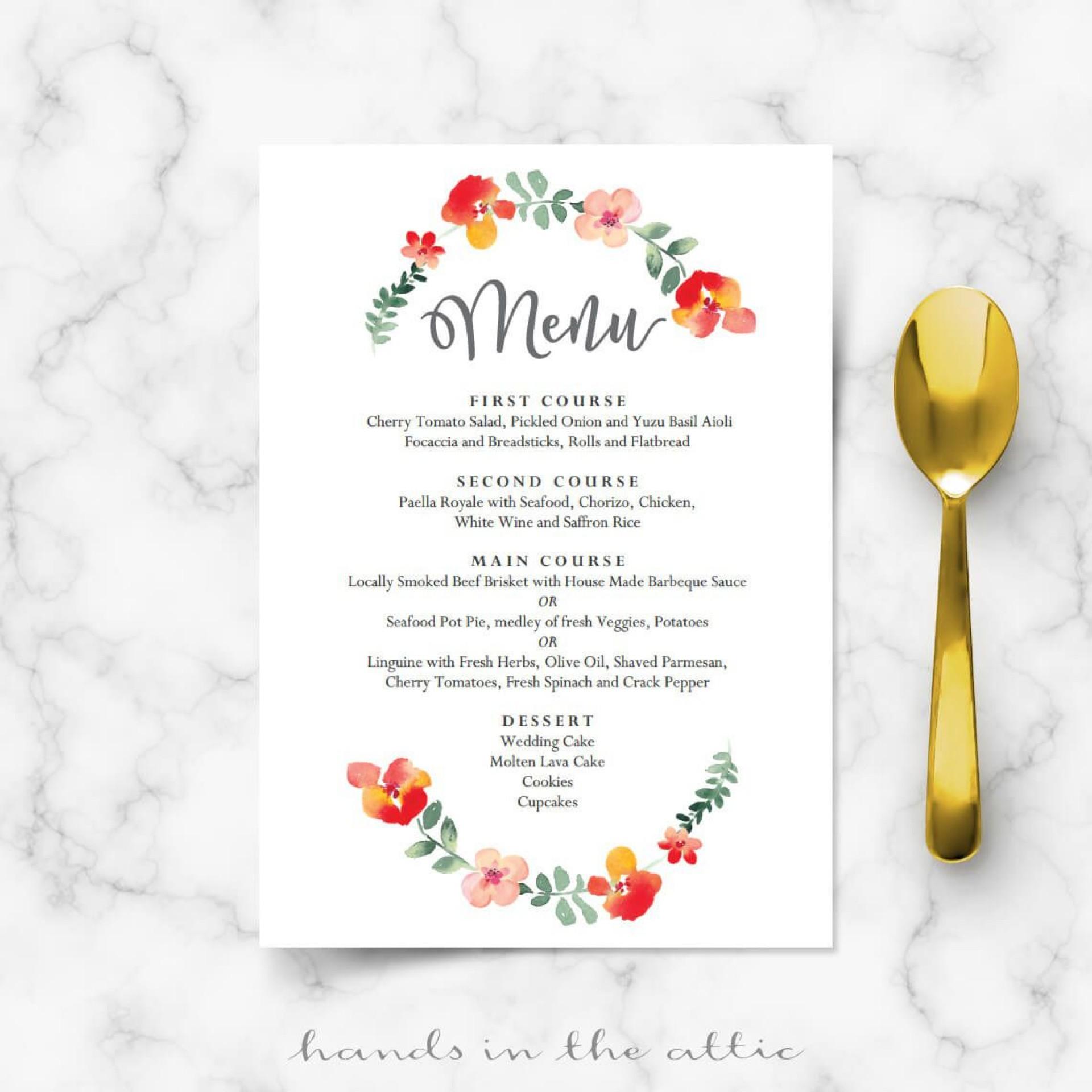 008 Unforgettable Diy Wedding Menu Template Idea  Free Card1920