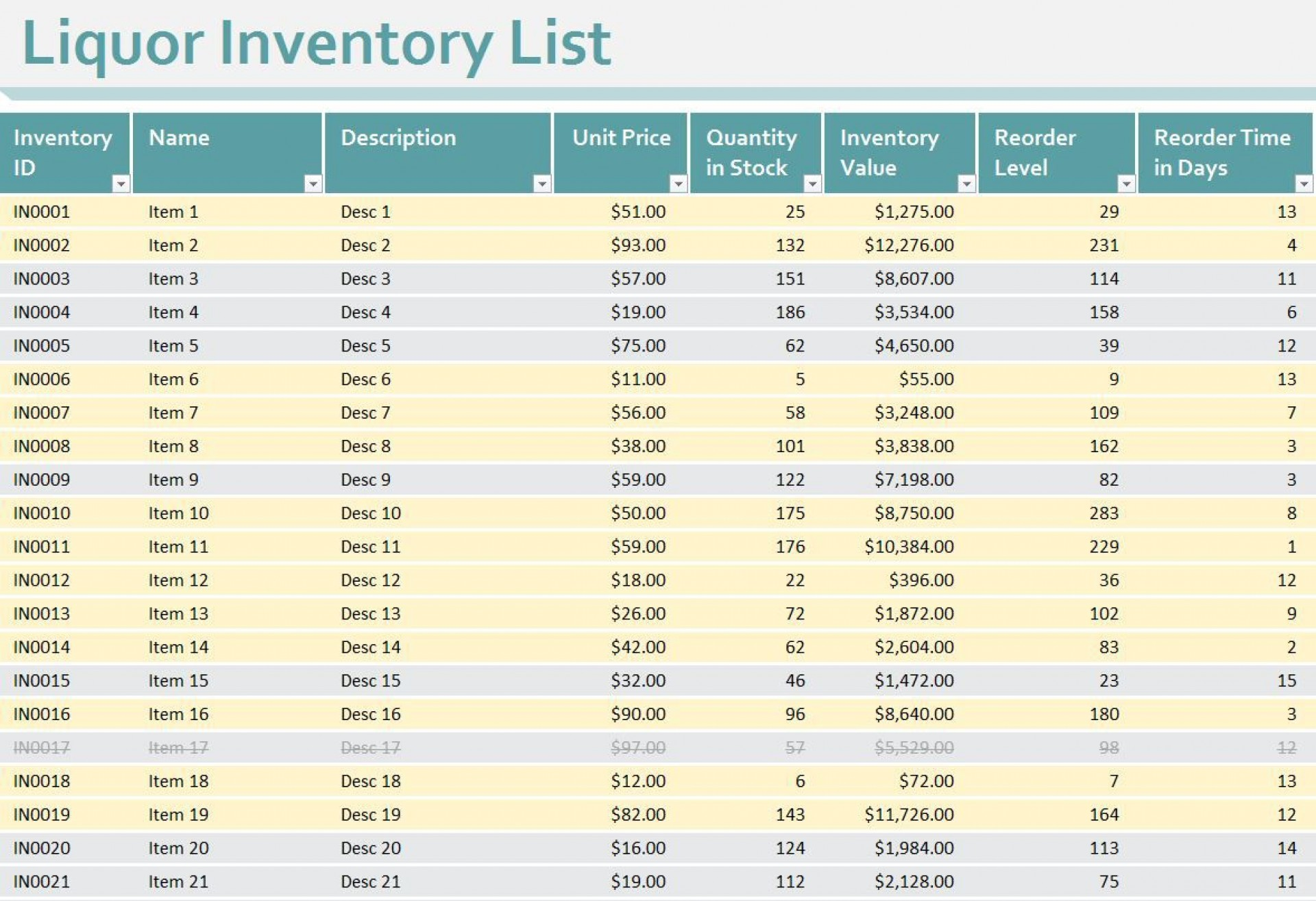 008 Unforgettable Free Liquor Inventory Spreadsheet Template Excel Image 1920
