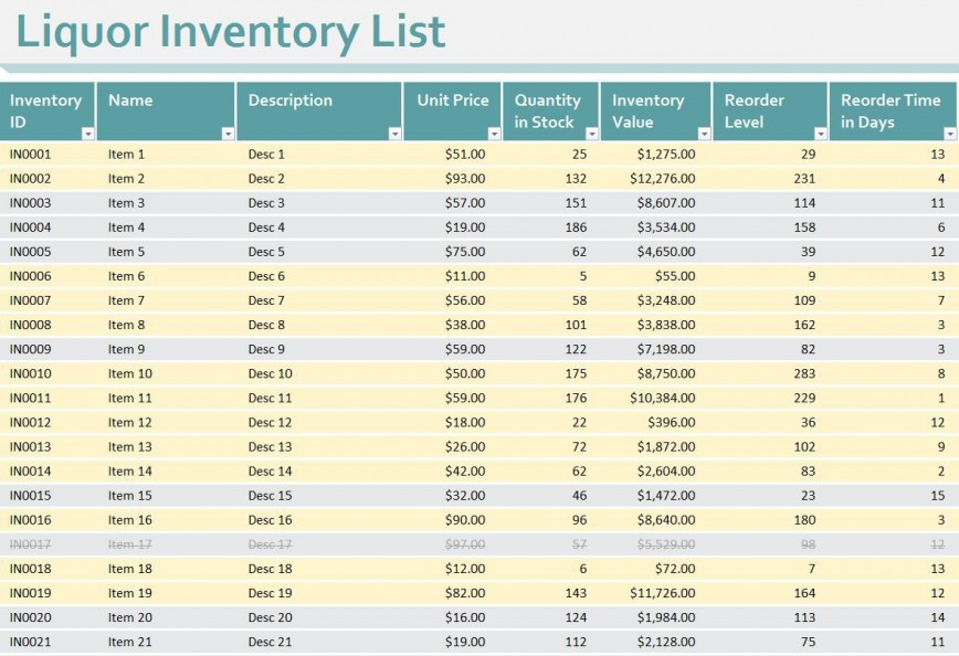 008 Unforgettable Free Liquor Inventory Spreadsheet Template Excel Image