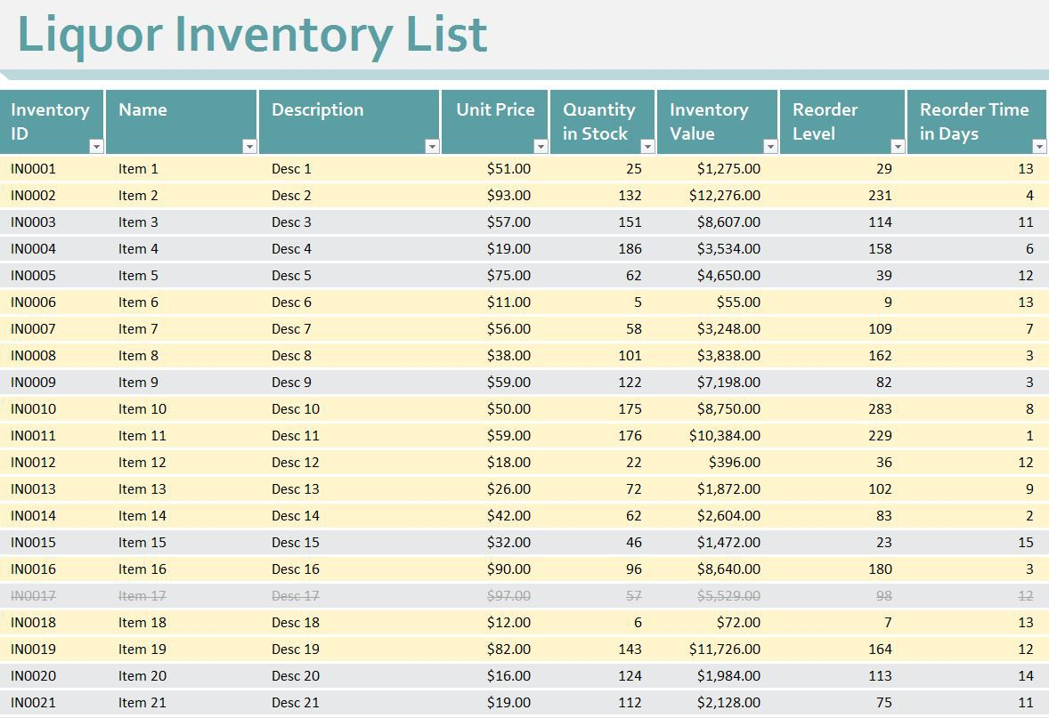 008 Unforgettable Free Liquor Inventory Spreadsheet Template Excel Image Full