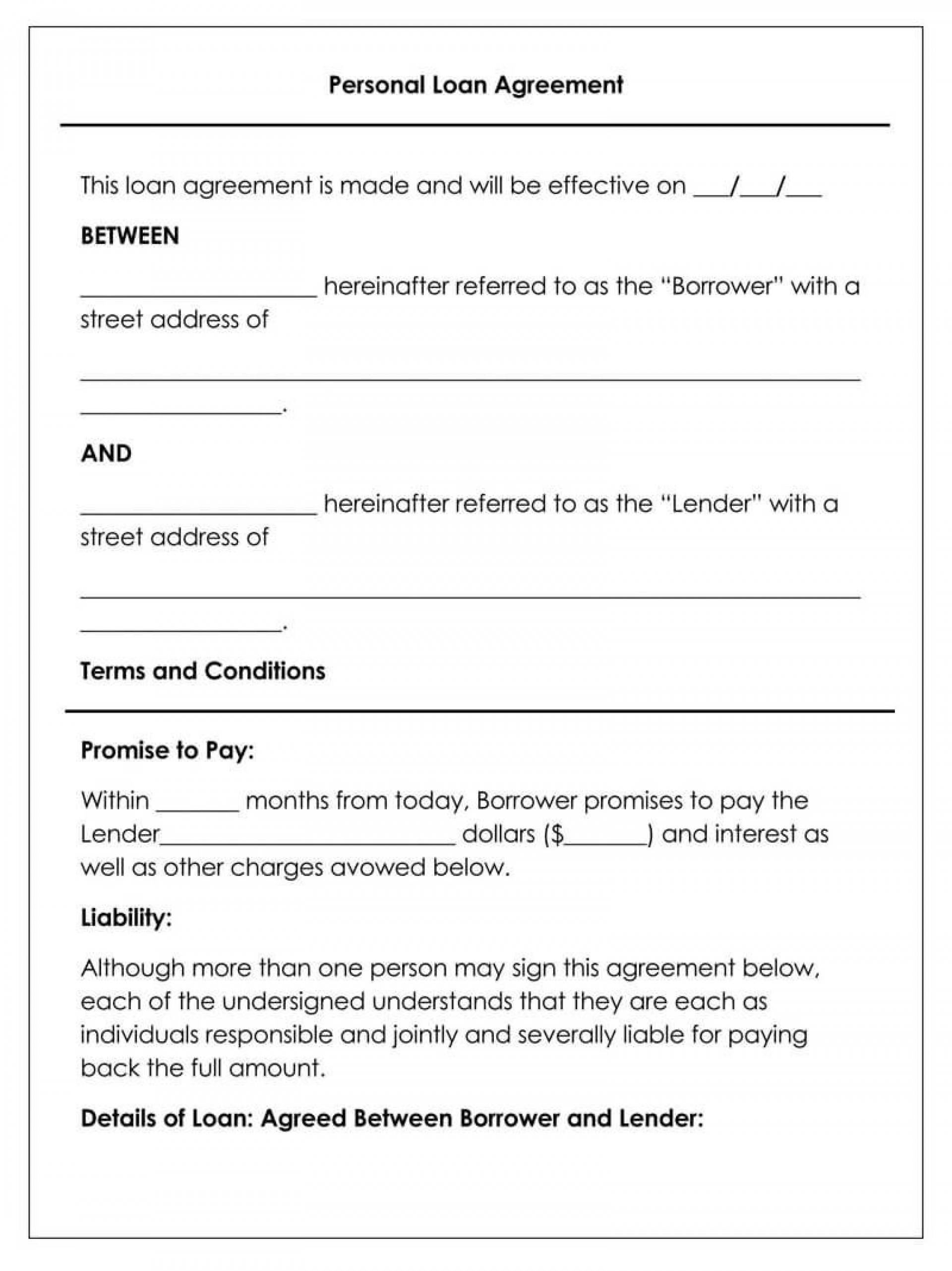 008 Unforgettable Free Loan Agreement Template Sample  Word Uk South African Interest1920