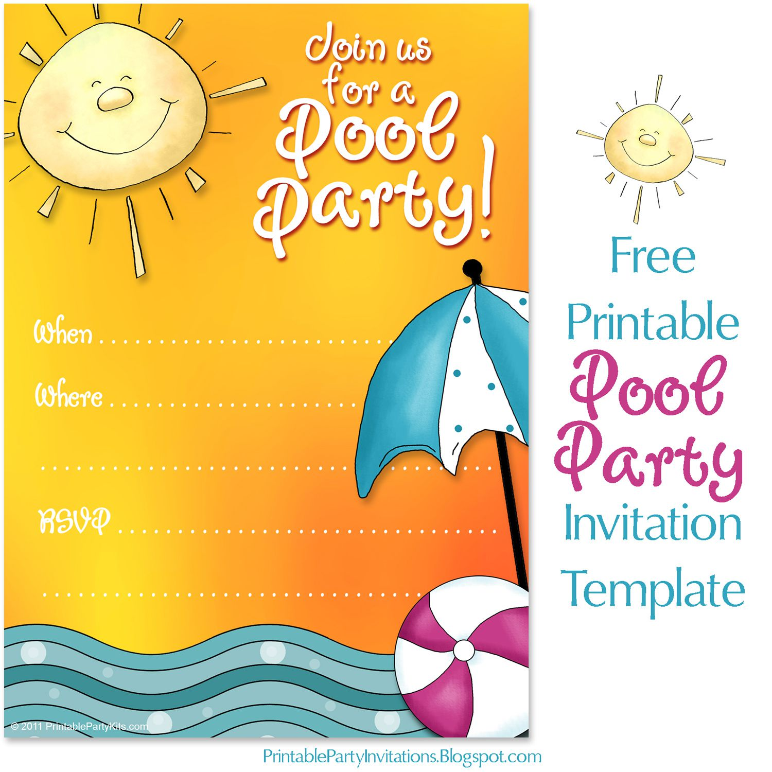 008 Unforgettable Free Pool Party Invitation Template Printable Idea  Card SummerFull
