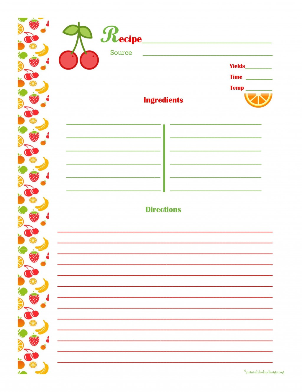 008 Unforgettable Full Page Recipe Template Photo  Card For Word Free EditableLarge