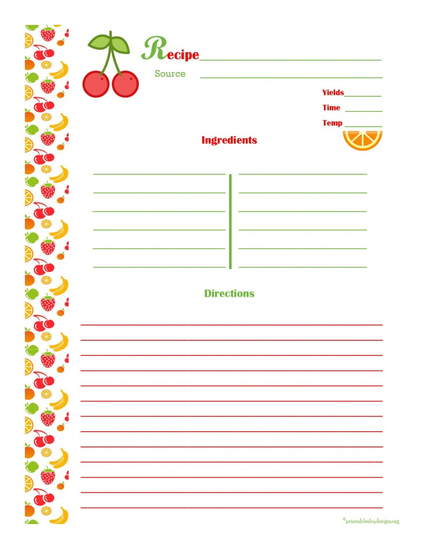 008 Unforgettable Full Page Recipe Template Photo  Card Editable For Word