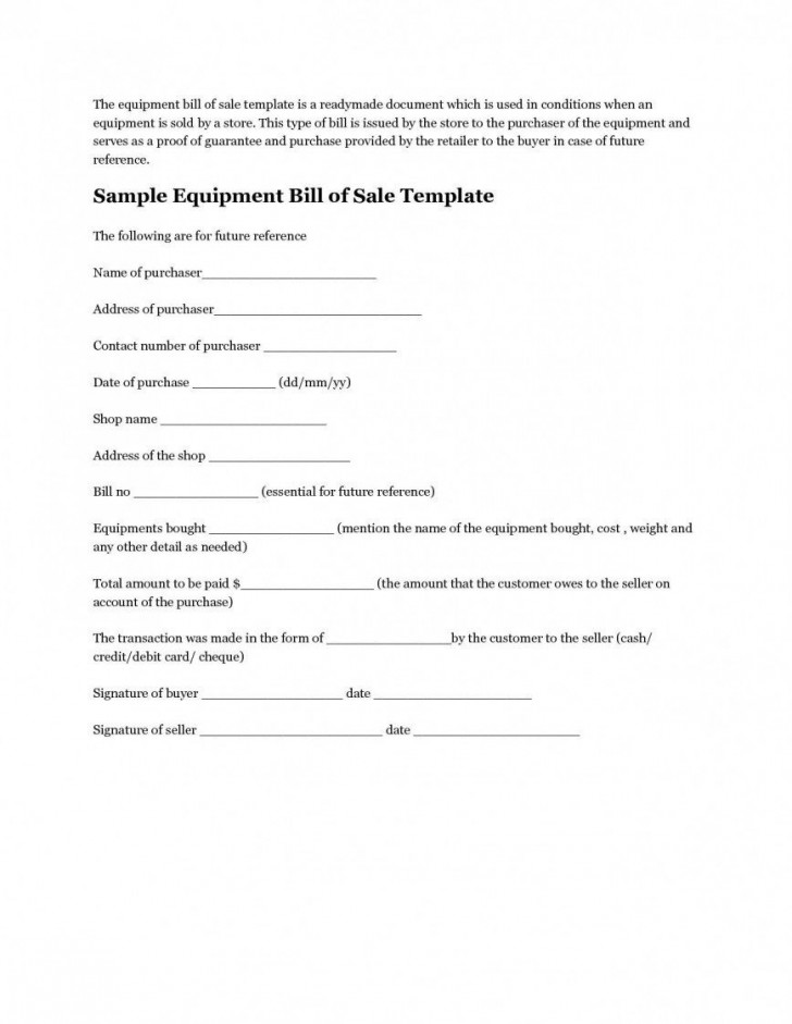 008 Unforgettable Microsoft Word Equipment Bill Of Sale Template Highest Clarity 728