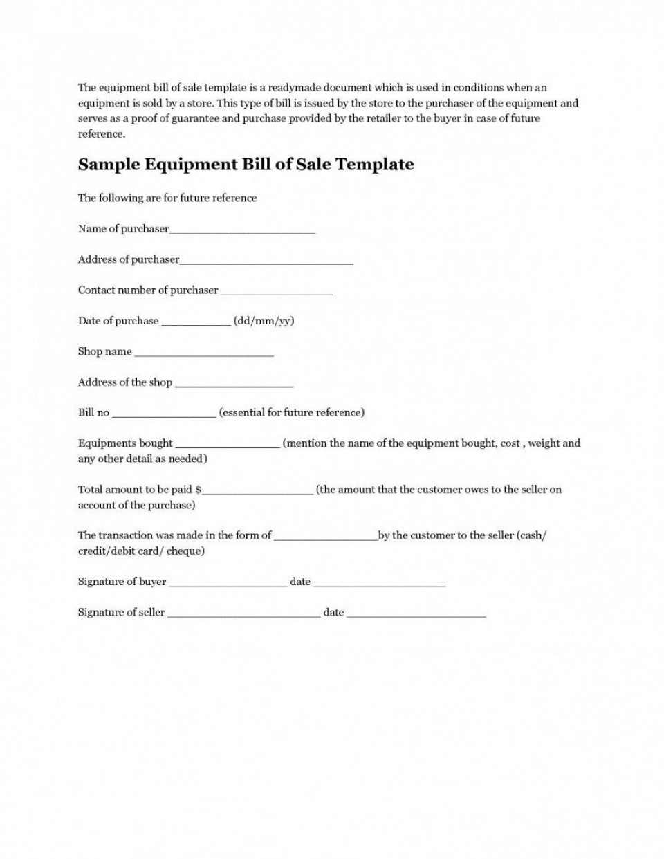 008 Unforgettable Microsoft Word Equipment Bill Of Sale Template Highest Clarity 960