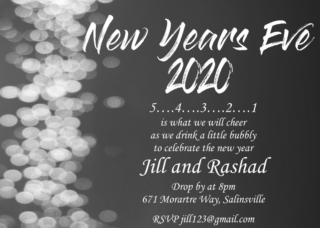 008 Unforgettable New Year Eve Invitation Template Concept  Party Free WordFull
