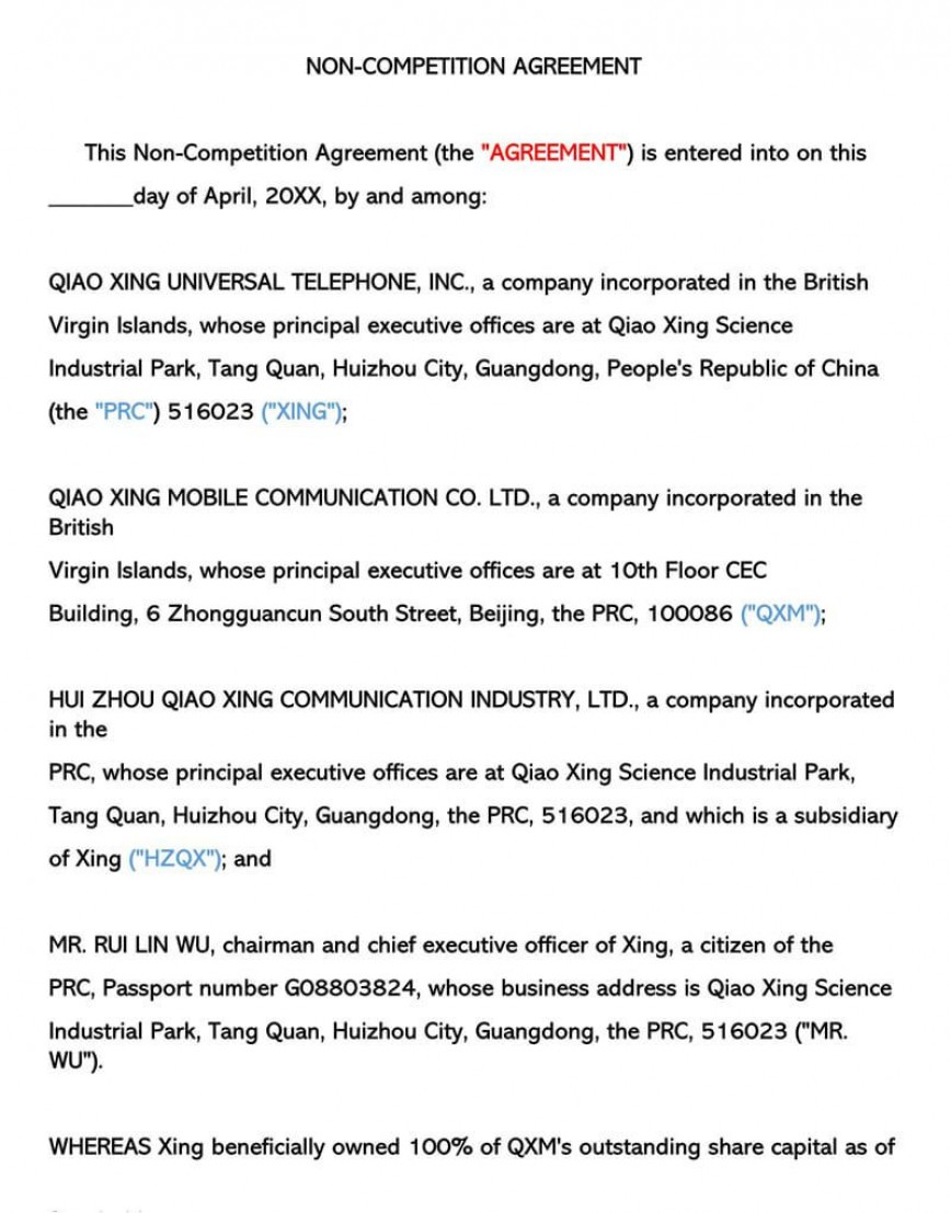 008 Unforgettable Non Compete Agreement Template Photo  Free Word Download Texa