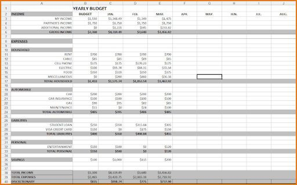 008 Unique Excel Budget Spreadsheet Template Picture  Tracker Free Household MonthlyLarge