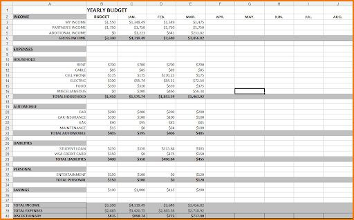 008 Unique Excel Budget Spreadsheet Template Picture  Tracker Free Household MonthlyFull