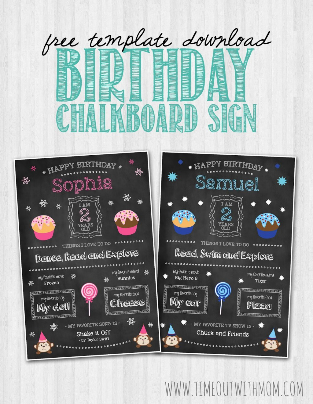 008 Unique First Birthday Chalkboard Template Example  Diy Printable FreeLarge