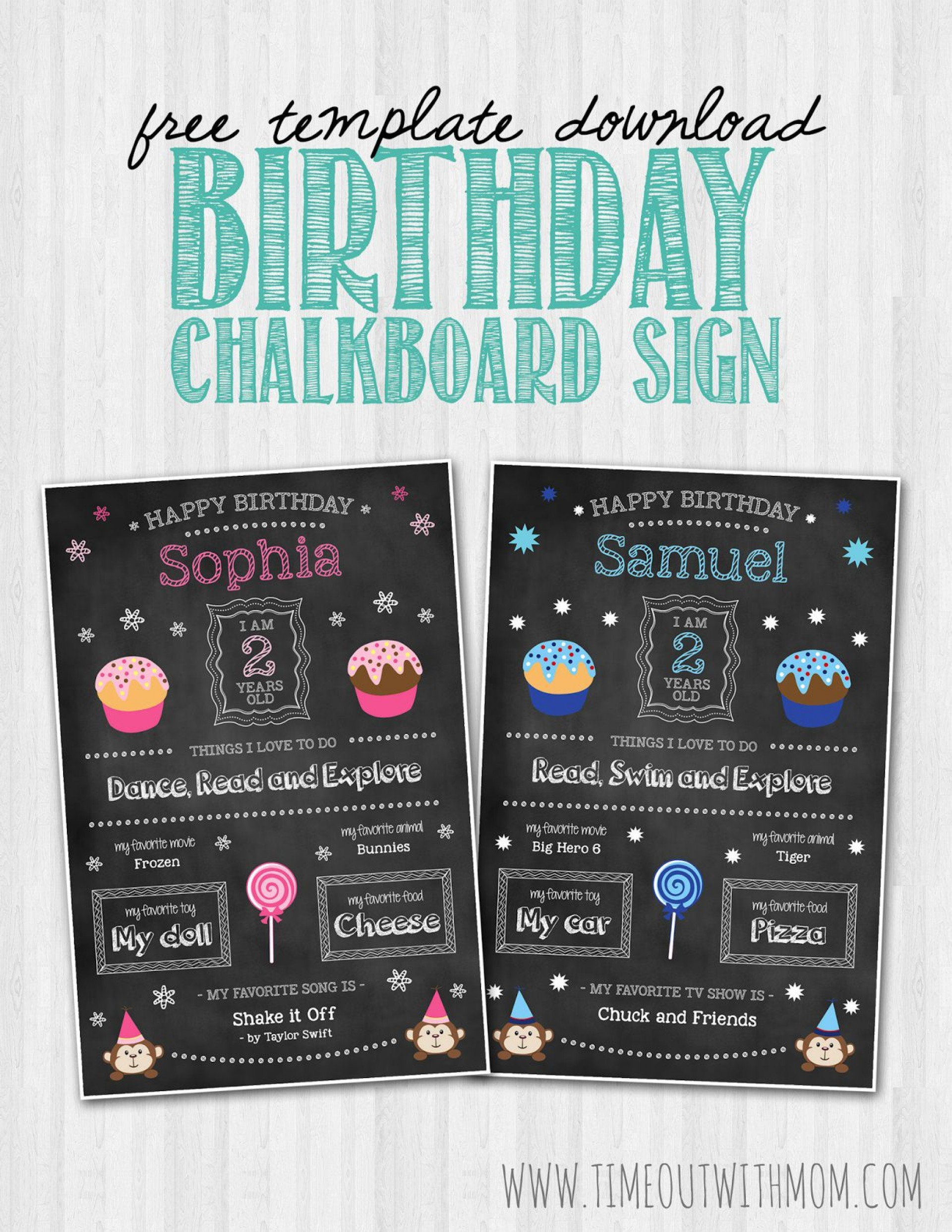 008 Unique First Birthday Chalkboard Template Example  Diy Printable Free1920