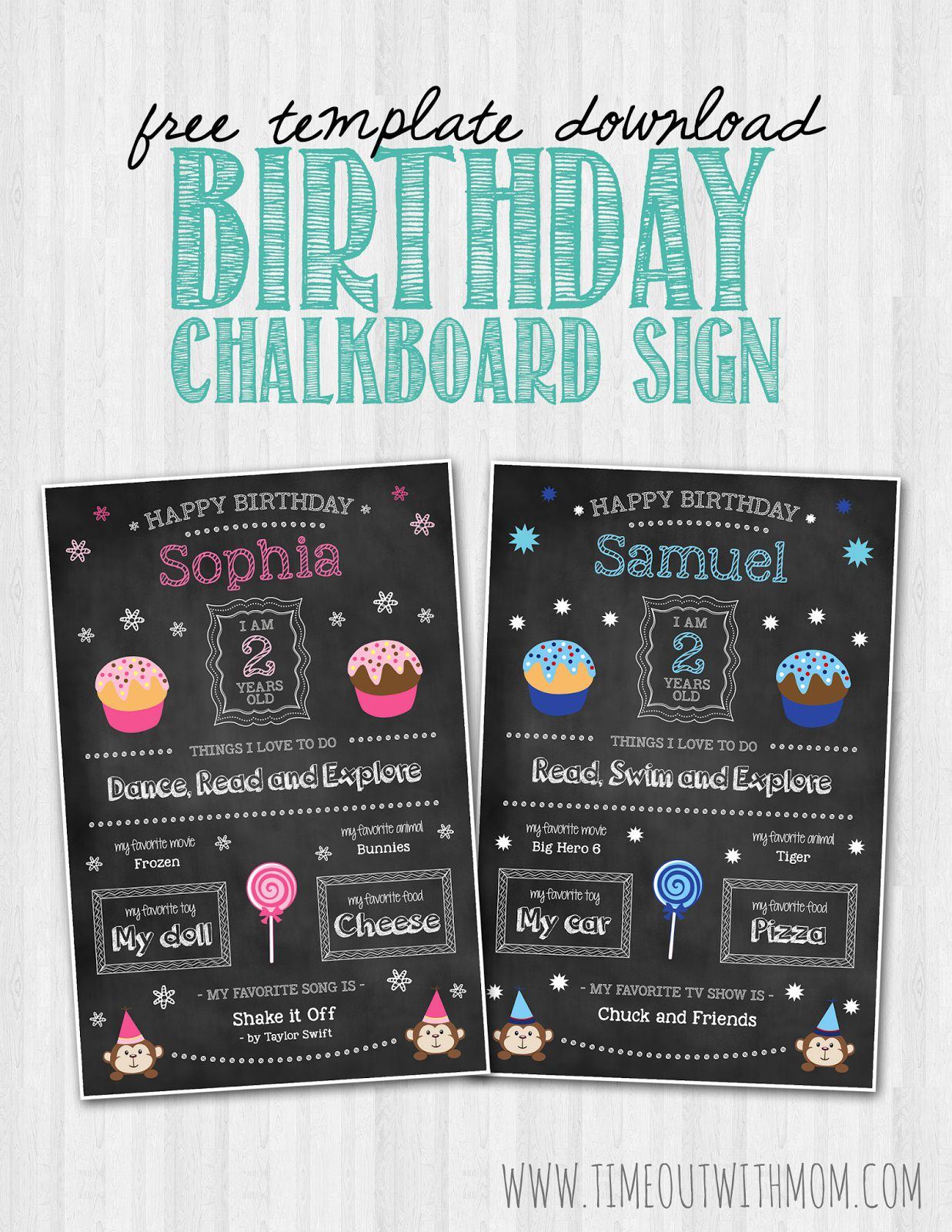 008 Unique First Birthday Chalkboard Template Example  Diy Printable FreeFull