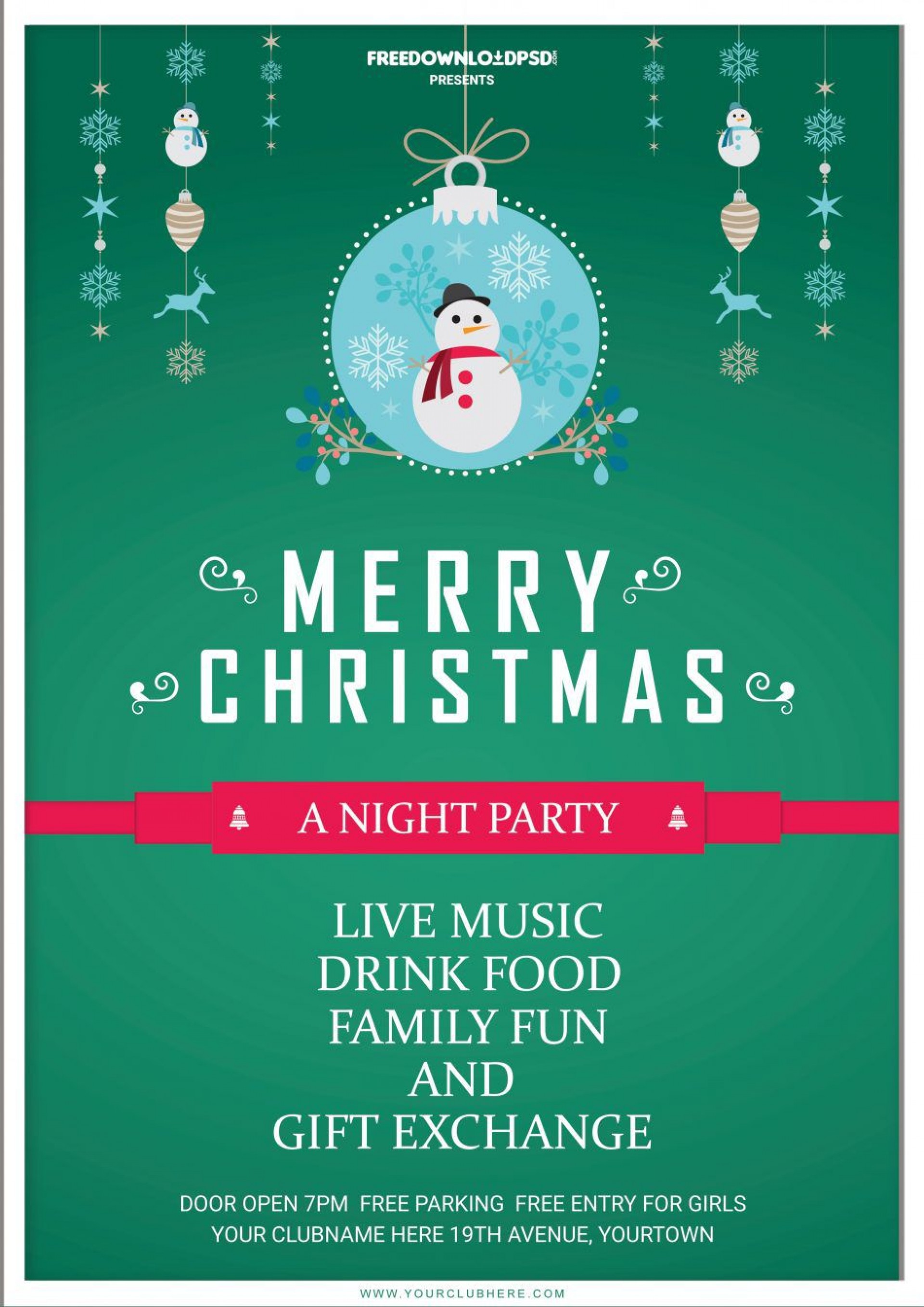 008 Unique Free Christma Flyer Template Sample  Templates Holiday Invitation Microsoft Word Psd1920