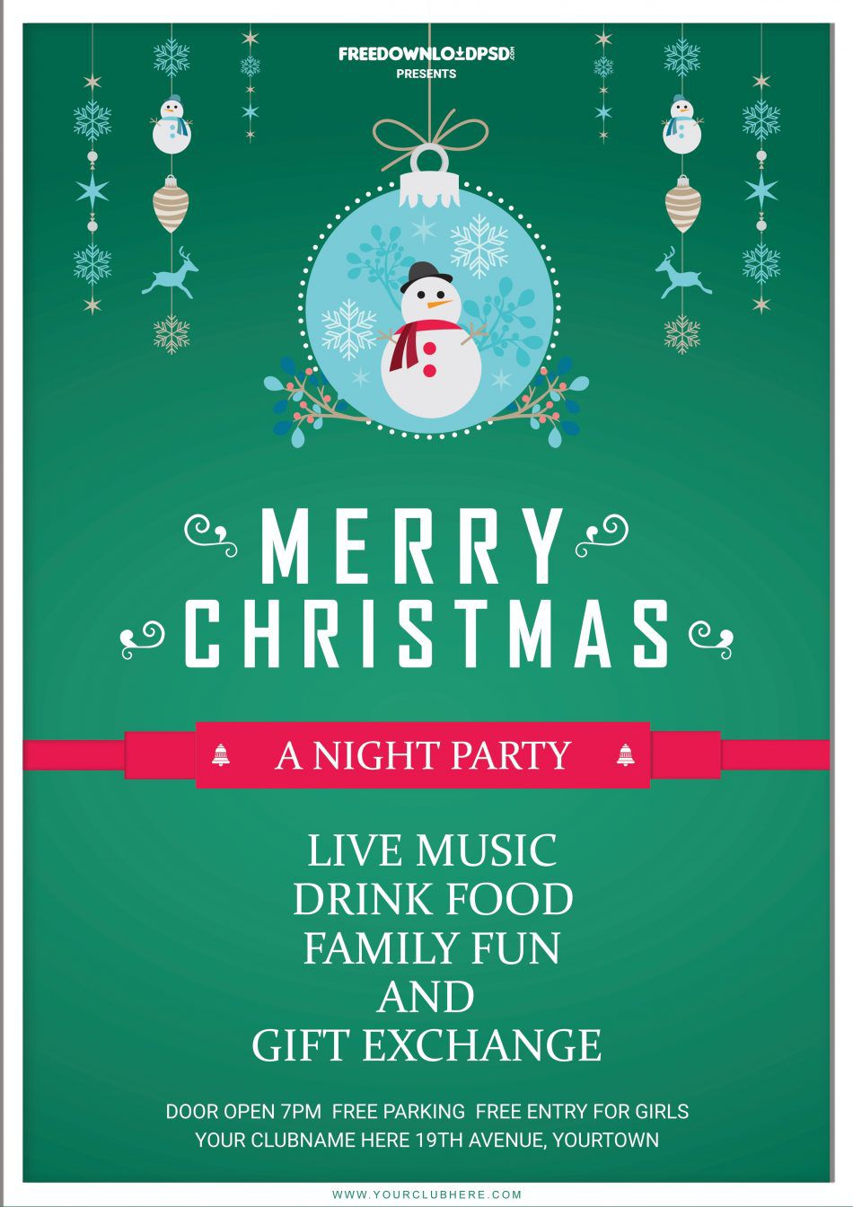 008 Unique Free Christma Flyer Template Sample  Templates Holiday Invitation Microsoft Word PsdFull